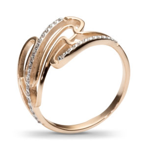 Кольцо с 31 фианитами из красного золота (арт. ж-8390к)