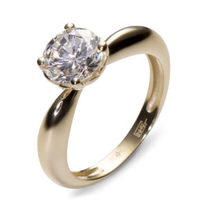 Кольцо с 1 фианитом из жёлтого золота (ж-8400к)