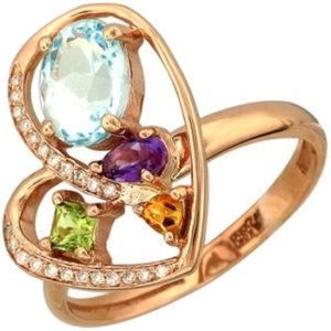 Кольцо с бриллиантами, аметистом, топазом, хризолитом, цитрином из красного (арт.ж-8471к)