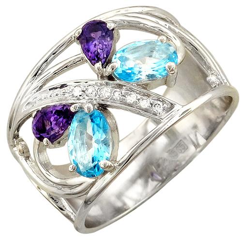 Кольцо с бриллиантами, аметистами, топазами из белого золота (арт. ж-8465к)