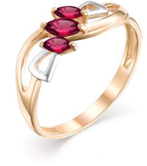 Кольцо с 3 рубинами из красного золота (арт.ж-8988к)