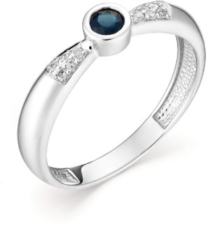 Кольцо с сапфиром и бриллиантами из белого золота (арт.ж-8749к)