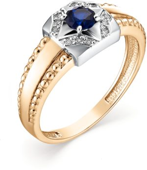 Кольцо с сапфиром и бриллиантами из красного золота (арт. ж-7970к)