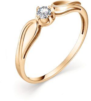 Кольцо с 1 бриллиантом из красного золота (ж-4к)