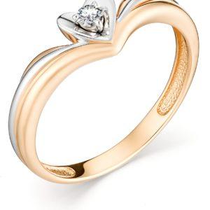 Кольцо с 1 бриллиантом из красного золота (арт. ж-9380к)