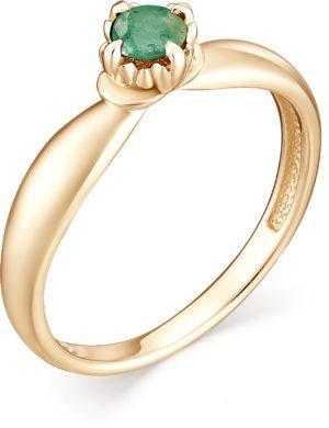Кольцо с 1 изумрудом из красного золота (арт. ж-8836к)