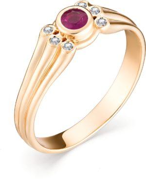 Кольцо с рубином и бриллиантами из красного золота (арт.ж-8958к)