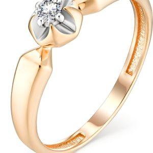 Кольцо с 1 бриллиантом из красного золота (арт.ж-9370к)