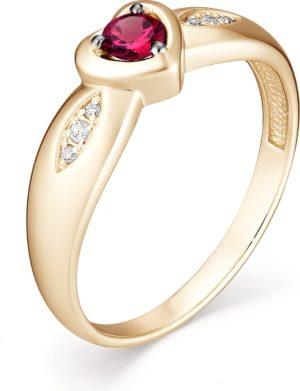 Кольцо с рубином и бриллиантами из красного золота (арт. ж-8350к)