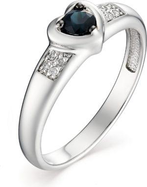 Кольцо с сапфиром и бриллиантами из белого золота (арт. ж-7980к)