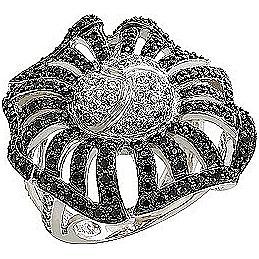 Кольцо Цветок с 208 фианитами из серебра 925 пробы (ж-38к)