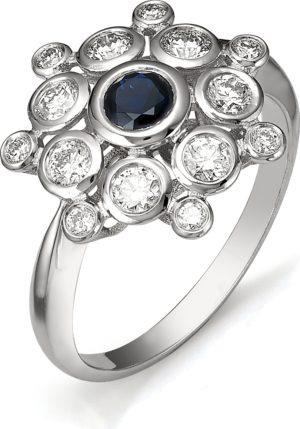 Кольцо с сапфиром, бриллиантами из белого золота (арт.ж-8352к)