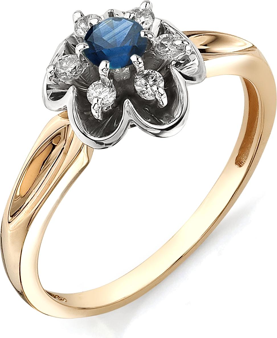 Кольцо Цветок с бриллиантами, сапфиром из красного золота (арт. ж-9542к)