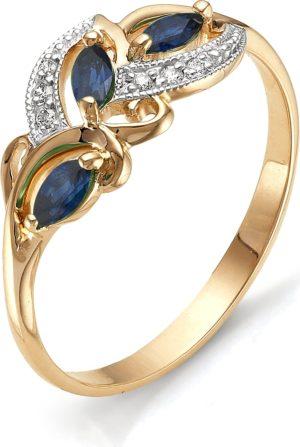 Кольцо с бриллиантами, изумрудами из красного золота (арт. ж-9218к)