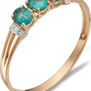 Кольцо с изумрудами, бриллиантами из красного золота (арт.ж-8986к)
