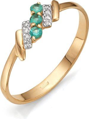 Кольцо с бриллиантами, изумрудами из красного золота (арт. ж-9225к)
