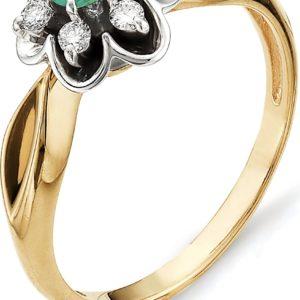Кольцо Цветок с бриллиантами, изумрудом из красного золота (арт. ж-8823к)