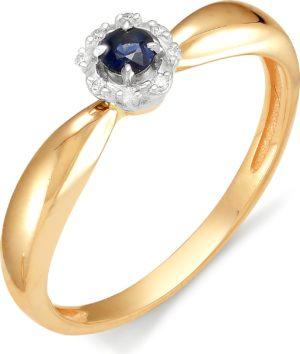 Кольцо с сапфиром, бриллиантами из красного золота (ж-6к)