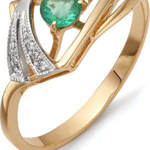 Кольцо с бриллиантами, изумрудом из красного золота (арт.ж-9359к)