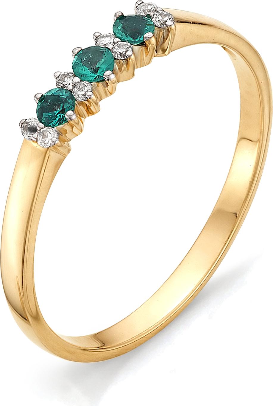 Кольцо с бриллиантами, изумрудами из красного золота (арт. ж-9224к)