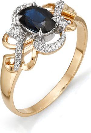 Кольцо с сапфиром, бриллиантами из красного золота (арт. ж-7981к)