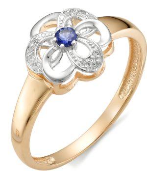 Кольцо Цветок с сапфиром, бриллиантами из красного золота (арт. ж-8768к)