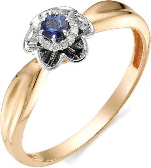 Кольцо с сапфиром, бриллиантами из красного золота (арт. ж-7752к)