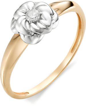 Кольцо Цветок с бриллиантом из красного золота (арт. ж-8552к)