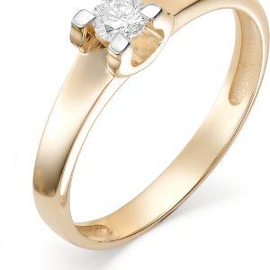 Кольцо с бриллиантом из красного золота 585 пробы (арт.ж-9372к)