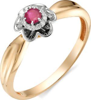 Кольцо с рубином, бриллиантами из красного золота (арт. ж-8962к)