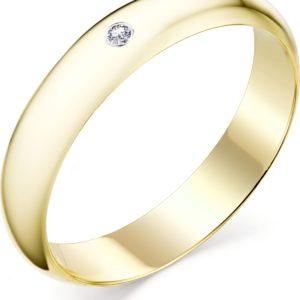 Кольцо с 1 бриллиантом из жёлтого золота (арт. ж-9340к)