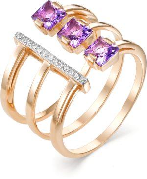 Кольцо безразмерное с аметистами и бриллиантами из красного золота (арт. ж-8553к)
