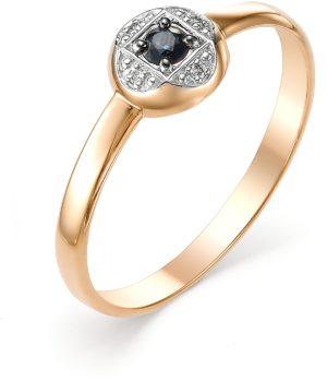 Кольцо с сапфиром и бриллиантами из красного золота (ж-5к)
