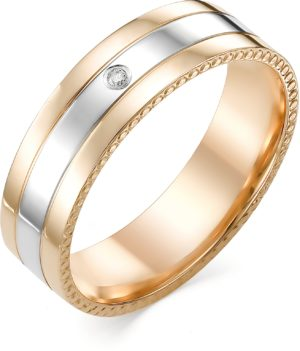 Кольцо с 1 бриллиантом из красного золота (ж-9576к)