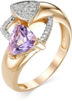Кольцо с аметистом и бриллиантами из красного золота (арт. ж-8200к)
