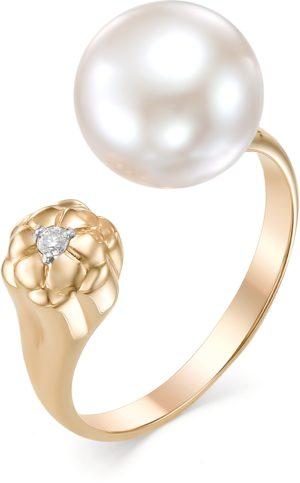 Кольцо Цветок безразмерное с жемчугом и бриллиантом из красного золота (арт.ж-9195к)