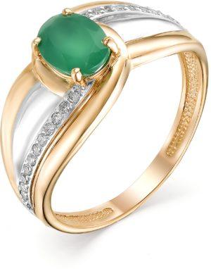 Кольцо с агатом и бриллиантами из красного золота (арт. ж-7975к)