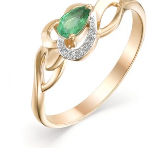 Кольцо с изумрудом и бриллиантами из красного золота (арт. ж-9214к)