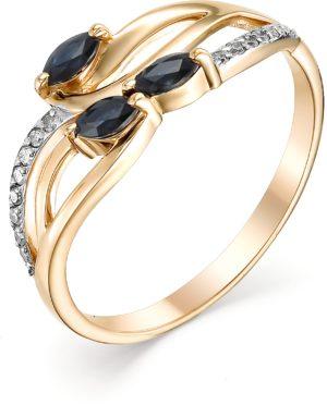 Кольцо с сапфирами и бриллиантами из красного золота (арт. ж-7973к)