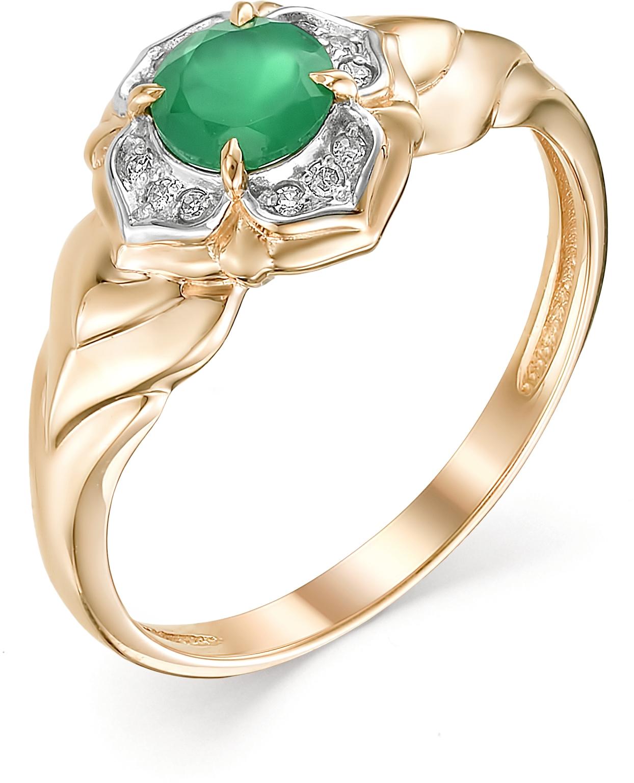 Кольцо с агатом и бриллиантами из красного золота (арт. ж-8937к)