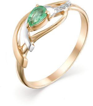 Кольцо с изумрудом и бриллиантами из красного золота (арт.ж-9213к)