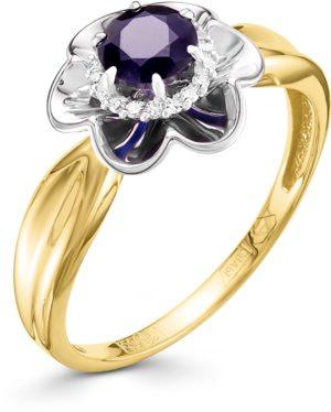 Кольцо с сапфиром и бриллиантами из жёлтого золота (арт. ж-7956к)