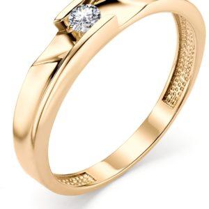 Кольцо с 1 бриллиантом из красного золота (арт. ж-9337к)