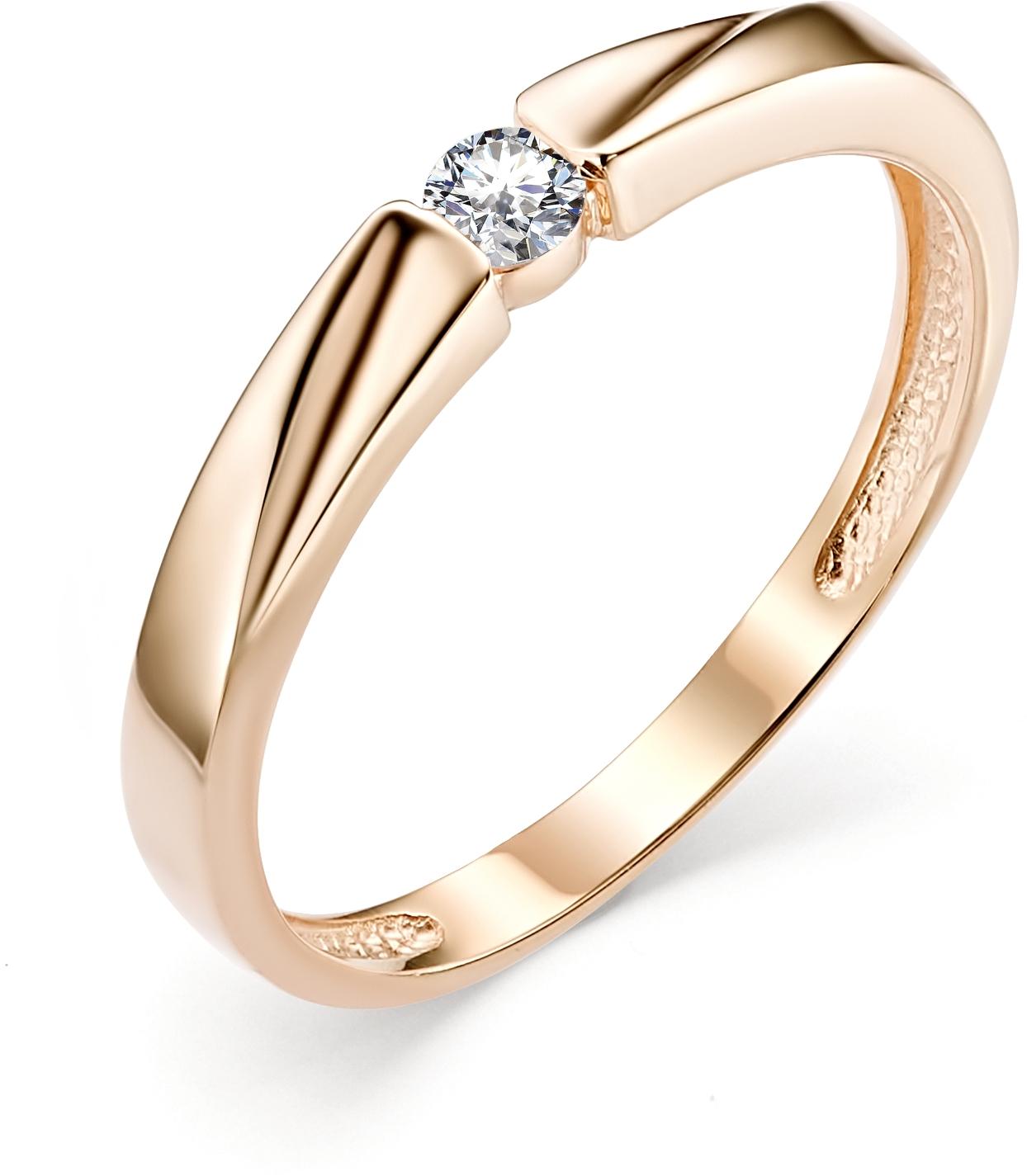Кольцо с 1 бриллиантом из красного золота (арт.ж-9334к)