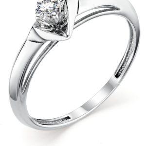 Кольцо с 1 бриллиантом из белого золота (арт.ж-9398к)