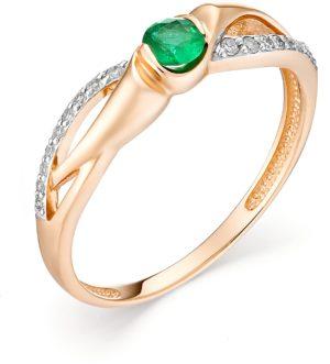 Кольцо с изумрудом и бриллиантами из красного золота (ж-3к)
