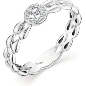 Кольцо с 12 бриллиантами из белого золота (арт. ж-9185к)