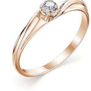 Кольцо с 1 бриллиантом из красного золота (арт. ж-9335к)