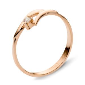 Кольцо с фианитом из красного золота (арт.ж-8545к)