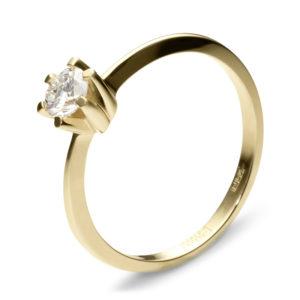 Кольцо с 1 фианитом из жёлтого золота (арт. ж-8397к)